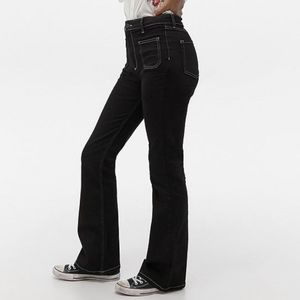 UO BDG black flare jeans high rise 70s top stitch